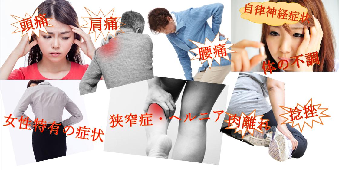 頭痛、肩痛、腰痛、自律神経症状、女性疾患、狭窄症、ヘルニア、肉離れ、捻挫